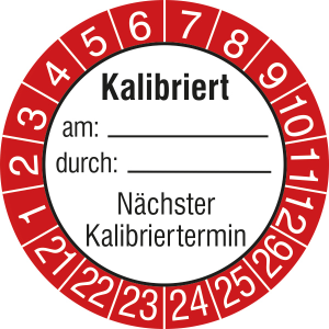 Prüfplaketten ohne Jahresfarbe (6 Jahre) mit rotem Rand, 2021 / 2026 - 2024 / 2029, Kalibriert am... (Zeitraum: 2021-2026 (Art.Nr.: 30.0826-21))