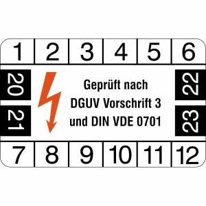 Prüfplaketten ohne Jahresfarbe, Geprüft nach DGUV Vorschrift 3 / DIN VDE 0701, 2020 / 2023-2023 / 2026 (Zeitraum: 2020-2023 (Art.Nr.: 30.c2125-20))