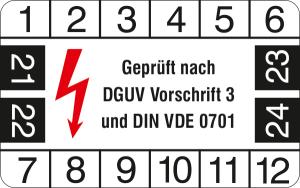 Prüfplaketten ohne Jahresfarbe, Geprüft nach DGUV Vorschrift 3 / DIN VDE 0701, 2021 / 2024-2024 / 2027 (Zeitraum: 2021-2024 (Art.Nr.: 30.c2125-21))