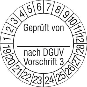 Prüfplaketten ohne Jahresfarbe, Geprüft von... nach DGUV Vorschrift 3, 2019 / 2028 - 2022 / 2031 (Zeitraum: 2019-2028 (Art.Nr.: 30.c2130-19))