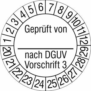 Prüfplaketten ohne Jahresfarbe, Geprüft von... nach DGUV Vorschrift 3, 2020 / 2029 - 2023 / 2032 (Zeitraum: 2020-2029 (Art.Nr.: 30.c2130-20))