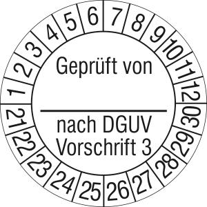 Prüfplaketten ohne Jahresfarbe, Geprüft von... nach DGUV Vorschrift 3, 2021 / 2030 - 2024 / 2033 (Zeitraum: 2021-2030 (Art.Nr.: 30.c2130-21))