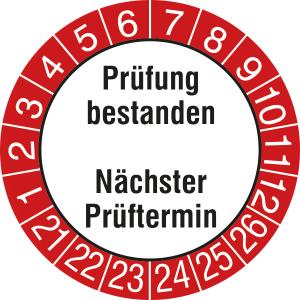 Prüfplaketten ohne Jahresfarbe mit rotem Rand, 2021 / 2026 - 2024 / 2029, Prüfung bestanden... (Zeitraum: 2021-2026 (Art.Nr.: 30.0824-21))