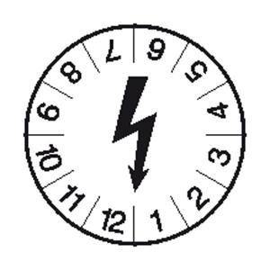 Prüfplaketten ohne Jahresfarbe, ohne Jahreszahl, Blitzsymbol, Bogen (Ausführung: Prüfplaketten ohne Jahresfarbe, ohne Jahreszahl, Blitzsymbol, Bogen (Art.Nr.: 30.3808))