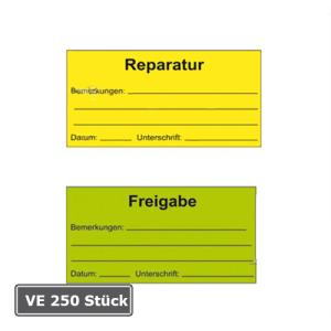 Qualitätssicherungs-Etiketten für Bemerkungen, auf Rolle, 250 Stück (Aufschrift/Farbe:  <b>Reparatur</b> / gelb (Art.Nr.: 32.3517-01))