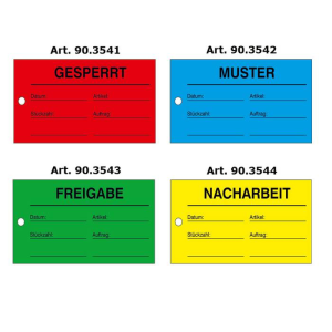 Qualitätstiketten mit Lochung, verschiedene Texte, VPE 25 Stk. (Aufschrift/Farbe/Menge:  <b>Gesperrt</b> / rot / VPE 25 Stk. (Art.Nr.: 90.3541))