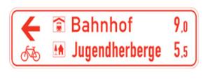 Radwegschilder, Tabellenwegweiser (Maße/Form/Modell: 200x800mm/Flachform/einseitig (Art.Nr.: rtw-e-200821))