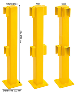 Rammschutzgeländer -Empire- Standpfosten 100 x 100 mm, Höhe 1000 mm (Modell/Oberfläche/Einsatzbereich: Anfang/Ende  <b>f. Innenbereich</b><br>kunststoffbeschichtet (Art.Nr.: 11560))