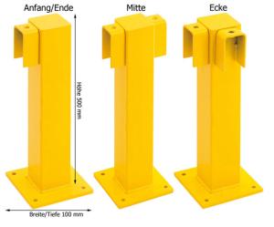 Rammschutzgeländer -Empire- Standpfosten 100x100 mm, Höhe 500 mm (Modell/Oberfläche/Einsatzbereich: Anfang/Ende  <b>f. Innenbereich</b><br>kunststoffbeschichtet (Art.Nr.: 11554))