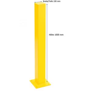 Rammschutzpoller -Empire- 100 x 100 mm, Höhe 1000 mm (Oberfläche/Einsatzbereich:  <b>kunststoffbeschichtet</b><br>für Innenbereich (Art.Nr.: 11619))