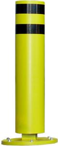 Rammschutzpoller -GOLIA- Ø 220 mm, Höhe 1000 mm, anfahrbar, höchste Kraftobsorption (Befestigung: zum Aufschrauben<br>mit Bodenplatte Ø 420 mm<br>und Bodenankern (ETA/0018 Zulassung) (Art.Nr.: 18093))