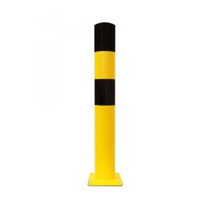 Rammschutzpoller -Mountain L- Ø 159 mm aus Stahl, gelb / schwarz, zum Einbetonieren oder Aufdübeln (Befestigung:  <b>zum Aufdübeln</b><br>Bodenplatte 250x250x15 mm (Art.Nr.: 40325))