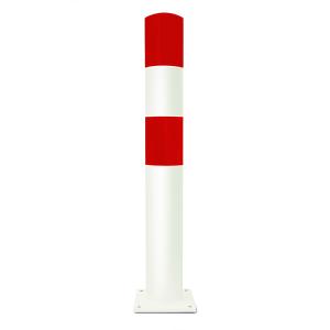 Rammschutzpoller -Mountain L- Ø 159 mm aus Stahl, rot / weiß, zum Einbetonieren oder Aufdübeln (Befestigung:  <b>zum Aufdübeln</b><br>Bodenplatte 250x250x15 mm (Art.Nr.: 40333))