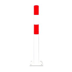 Rammschutzpoller -Mountain S- Ø 90 mm aus Stahl, rot / weiß, zum Einbetonieren oder Aufdübeln (Befestigung:  <b>zum Einbetonieren</b> (Art.Nr.: 40331))