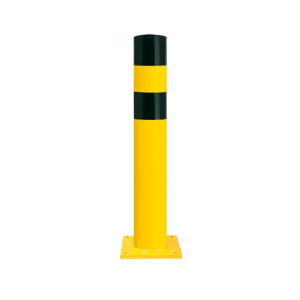 Rammschutzpoller -Mountain XXL- Ø 273 mm aus Stahl, gelb / schwarz, zum Einbetonieren o. Aufdübeln (Befestigung:  <b>zum Aufdübeln</b><br>Bodenplatte 350x350x15 mm (Art.Nr.: 40329))