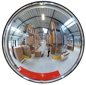 Raumspiegel -INDOOR- aus Acrylglas, rund (Maße (ØxT)/max. Beobachterabstand: Ø 450 x 100 mm/ <b>4 m</b> (Art.Nr.: 25792))
