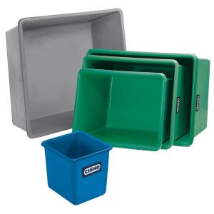 Rechteckbehälter Grau - aus GFK, Volumen 100 bis 3300 Liter, stapelbar, optionale Staplertaschen (Volumen/Modell/Maße (LxBxH):  <b>100L</b>/Basic/880x580x290mm (Art.Nr.: 13996))