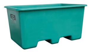Rechteckbehälter aus GFK, 200 oder 400 Liter, unterfahrbar, stapelbar, verschiedene Farben (Volumen/Farbe/Bauart/Maße (LxBxH):  <b>200 Liter grün</b>/hoch/870x570x640mm (Art.Nr.: 34051))