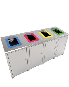 Recyclingbehälter -Pro 34-, 60 Liter aus Edelstahl, versch. Rahmenfarben