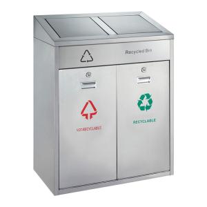 Recyclingstation -P-Bins 119- 42 Liter aus Edelstahl, mit 2 Einwurfklappen (Ausführung: Recyclingstation -P-Bins 119- 42 Liter aus Edelstahl, mit 2 Einwurfklappen (Art.Nr.: 37842))