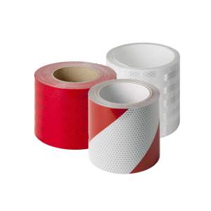 Reflexfolie für Stilpoller und Sperrpfosten, verschiedene Farben, Meterware (Farbe/Rückstrahlsystem:  <b>weiß</b><br>nach DIN 675250, Tab 3 (Art.Nr.: 40108))