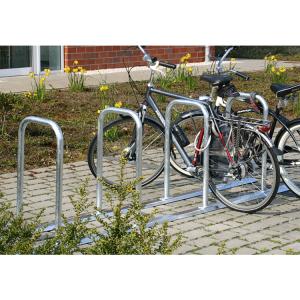 Reihenanlehnbügel -Amsterdam- aus Stahl, Höhe 825 mm (Bügel/Länge:  <b>2 Bügel</b>/1400mm<br>(für 2 bzw. 4 Räder) (Art.Nr.: 10625))