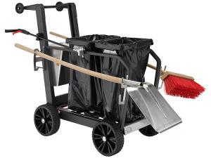 Reinigungswagen -City Two- für 2 Müllsacke à 120 Liter, inkl. Abfallzange, Schaufel und Besen (Ausführung: Reinigungswagen -City Two- für 2 Müllsacke à 120 Liter, inkl. Abfallzange, Schaufel und Besen (Art.Nr.: 37505
