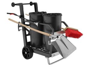 Reinigungswagen -Light Two- inkl. 2 x 60 Liter Abfallbehälter, Abfallzange, Schaufel und Besen (Ausführung: Reinigungswagen -Light Two- inkl. 2 x 60 Liter Abfallbehälter, Abfallzange, Schaufel und Besen (Art.Nr.: 37502))