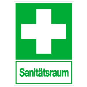Rettungs-Kombischild, Erste Hilfe mit Zusatztext Sanitätsraum, langnachleuchtend (Material:  <b>Folie</b>, selbstklebend (Art.Nr.: 38.0073))