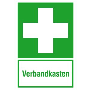 Rettungs-Kombischild, Erste Hilfe mit Zusatztext Verbandkasten (Maße (BxH)/Material: 200 x 300 mm<br> <b>Folie</b>, selbstklebend<br>langnachleuchtend (Art.Nr.: 38.0074))