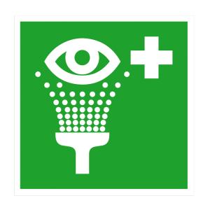 Rettungsschild Augenspüleinrichtung (Maße (BxH)/Material: 150 x 150 mm<br> <b>Folie</b>, selbstklebend<br>langnachleuchtend (Art.Nr.: 38.0063))