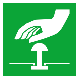Rettungsschild Not-Halt-Knopf, langnachleuchtend (Maße (BxH) / Material: 100 x 100 mm / Folie, selbstklebend (Art.Nr.: 38.a2097))