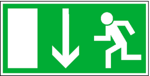 Rettungsschild Notausgang (Maße (BxH)/Material: 300x150 mm /  <b>Folie</b>, selbstklebend (Art.Nr.: 38.0014))