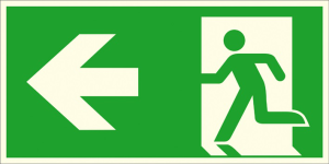 Rettungsschild Notausgang links, (Kombischild), langnachleuchtend (Maße (BxH) / Material: 300 x 150 mm / Folie, selbstklebend (Art.Nr.: 38.a1020))