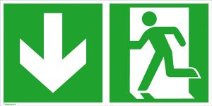 Rettungsschild Notausgang (links) mit Richtungspfeil abwärts, langnachleuchtend (Maße (BxH) / Material: 300 x 150 mm / Folie, selbstklebend (Art.Nr.: 38.0084))