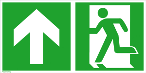 Rettungsschild Notausgang (links) mit Richtungspfeil aufwärts bzw. geradeaus, langnachleuchtend (Maße (BxH) / Material: 300 x 150 mm<br> <b>Folie</b>, selbstklebend (Art.Nr.: 38.3025))