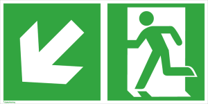 Rettungsschild Notausgang (links) mit Richtungspfeil links abwärts, langnachleuchtend (Maße (BxH) / Material: 300 x 150 mm<br> <b>Folie</b>, selbstklebend (Art.Nr.: 38.3044))