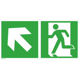 Rettungsschild Notausgang (links) mit Richtungspfeil links aufwärts, langnachleuchtend (Maße (BxH) / Material: 300 x 150 mm<br> <b>Folie</b>, selbstklebend (Art.Nr.: 38.3048))