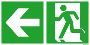 Rettungsschild Notausgang (links) mit Richtungspfeil links, langnachleuchtend (Maße (BxH) / Material: 300 x 150 mm / Folie, selbstklebend (Art.Nr.: 38.0088))