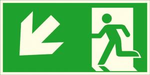 Rettungsschild Notausgang links, schräg abwärts (Kombischild), langnachleuchtend (Maße (BxH) / Material: 300 x 150 mm / Folie, selbstklebend (Art.Nr.: 38.a1025))