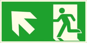 Rettungsschild Notausgang links, schräg aufwärts (Kombischild), langnachleuchtend (Maße (BxH) / Material: 300 x 150 mm / Folie, selbstklebend (Art.Nr.: 38.a1030))