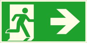 Rettungsschild Notausgang rechts (Kombischild), langnachleuchtend (Maße (BxH) / Material: 300 x 150 mm / Folie, selbstklebend (Art.Nr.: 38.a1060))