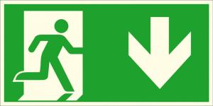 Rettungsschild Notausgang rechts, abwärts (Kombischild), langnachleuchtend (Maße (BxH) / Material: 300 x 150 mm / Folie, selbstklebend (Art.Nr.: 38.a1055))