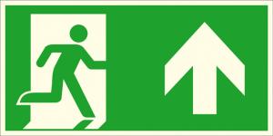 Rettungsschild Notausgang rechts, aufwärts bzw. geradeaus (Kombischild), langnachleuchtend (Maße (BxH) / Material: 300 x 150 mm / Folie, selbstklebend (Art.Nr.: 38.a1050))