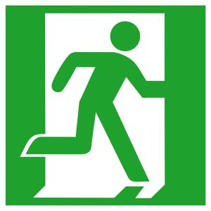 Rettungsschild Notausgang rechts, langnachleuchtend (Maße(BxH) / Material: 150 x 150 mm / Folie, selbstklebend (Art.Nr.: 38.0029))