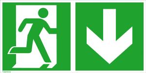 Rettungsschild Notausgang (rechts) mit Richtungspfeil abwärts, langnachleuchtend (Maße (BxH) / Material: 300 x 150 mm / Folie, selbstklebend (Art.Nr.: 38.0069))