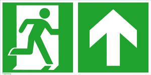 Rettungsschild Notausgang (rechts) mit Richtungspfeil aufwärts bzw. geradeaus, langnachleuchtend (Maße (BxH) / Material: 300 x 150 mm<br> <b>Folie</b>, selbstklebend (Art.Nr.: 38.3023))