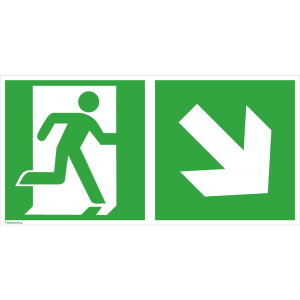 Rettungsschild Notausgang (rechts) mit Richtungspfeil rechts abwärts, langnachleuchtend (Maße (BxH) / Material: 300 x 150 mm<br> <b>Folie</b>, selbstklebend (Art.Nr.: 38.3042))