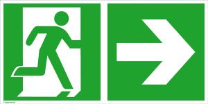 Rettungsschild Notausgang (rechts) mit Richtungspfeil rechts, langnachleuchtend (Maße (BxH) / Material: 300 x 150 mm / Folie, selbstklebend (Art.Nr.: 38.0086))