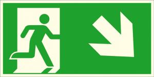 Rettungsschild Notausgang rechts, schräg abwärts (Kombischild), langnachleuchtend (Maße (BxH) / Material: 300 x 150 mm / Folie, selbstklebend (Art.Nr.: 38.a1065))